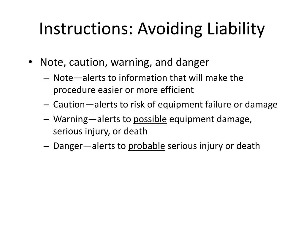 Instructions: Avoiding Liability
