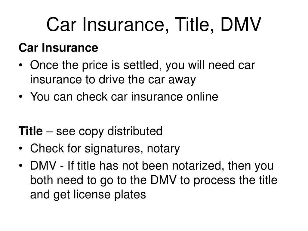 Car Insurance, Title, DMV