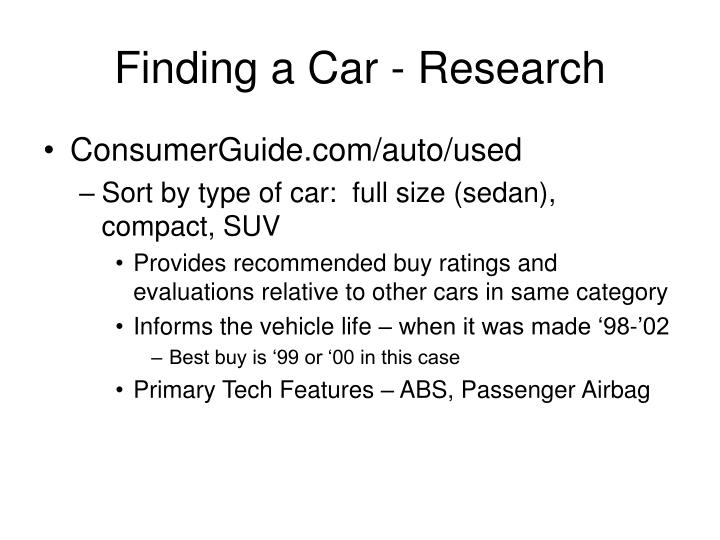 Finding a car research