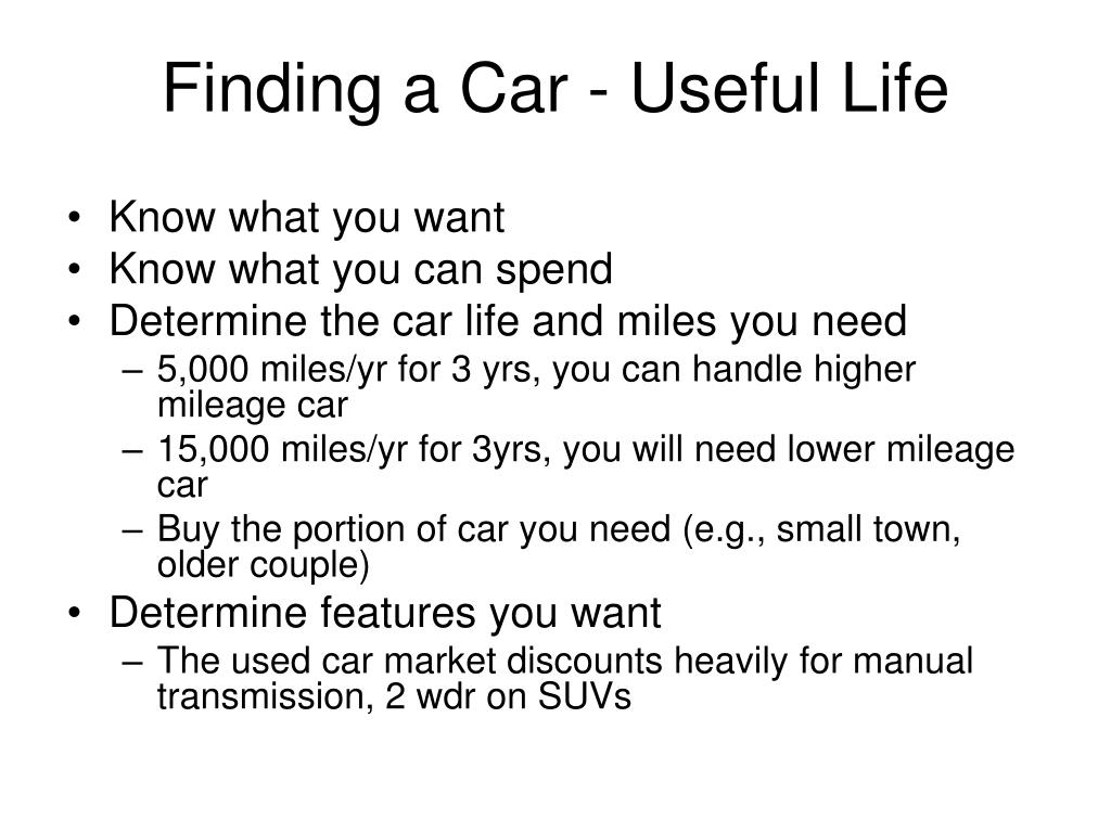 Finding a Car - Useful Life