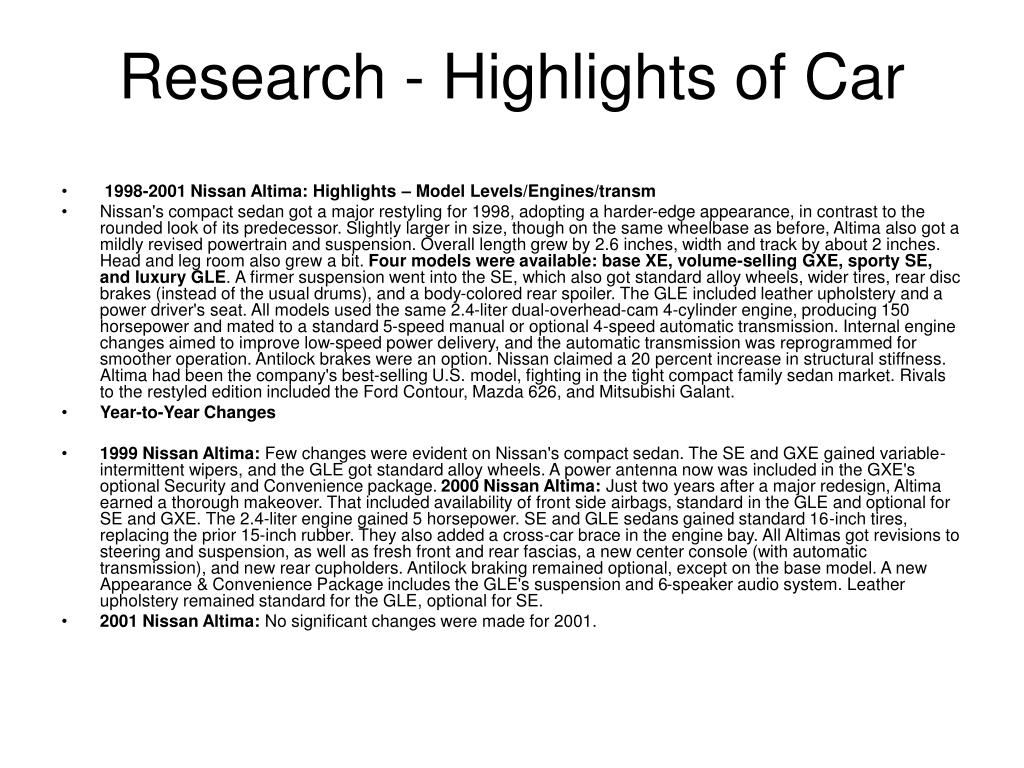 Research - Highlights of Car
