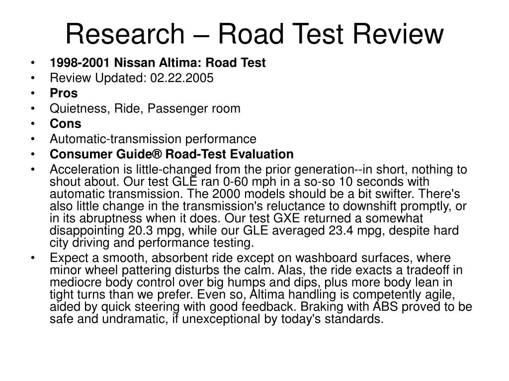 Research – Road Test Review
