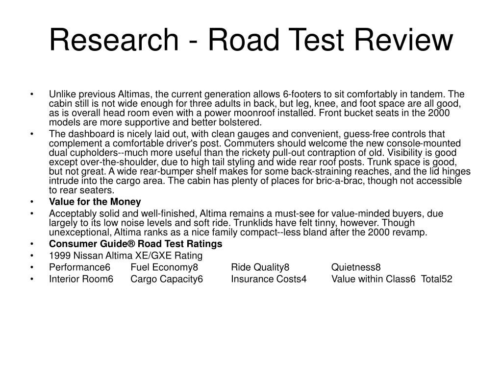 Research - Road Test Review