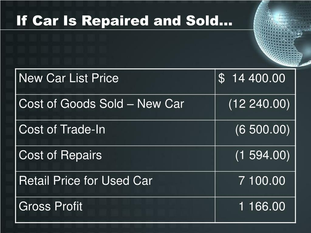 If Car Is Repaired and Sold…
