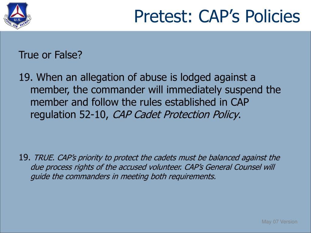 Pretest: CAP's Policies