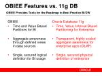 obiee features vs 11g db