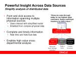 powerful insight across data sources simplify analysis of distributed data