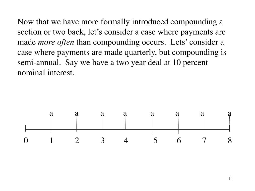 Now that we have more formally introduced compounding a section or two back, let's consider a case where payments are made