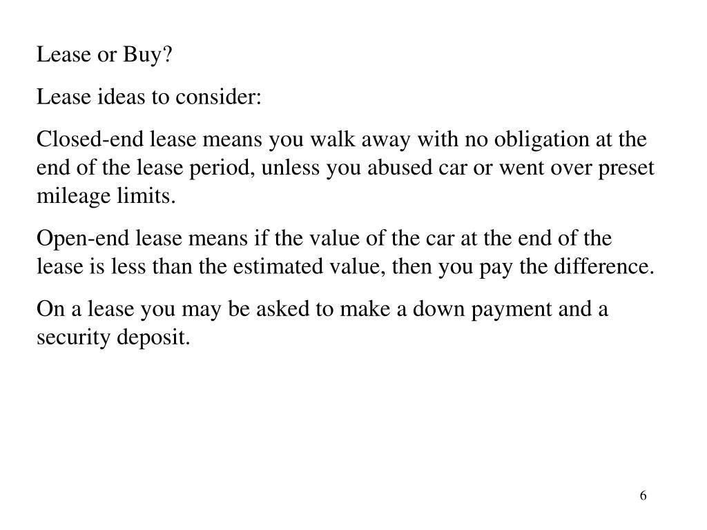 Lease or Buy?