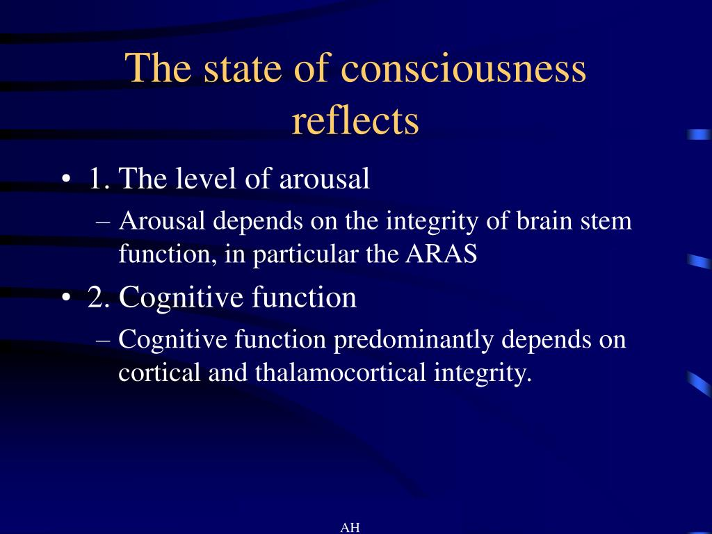 The state of consciousness reflects