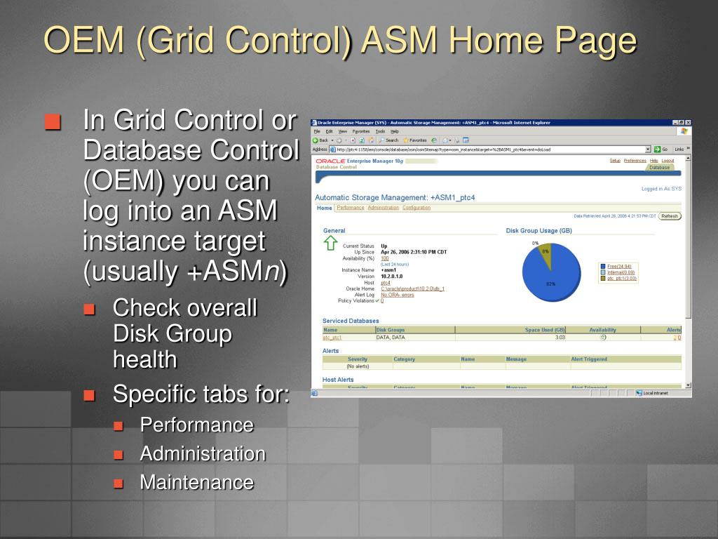 OEM (Grid Control) ASM Home Page
