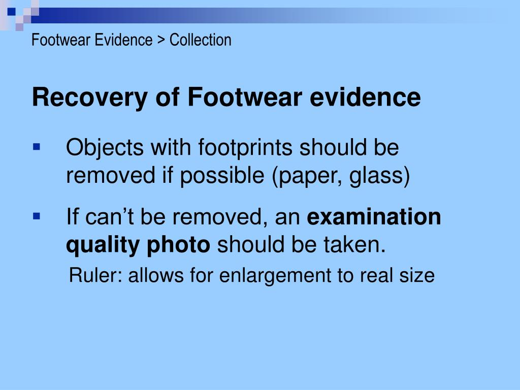 Footwear Evidence > Collection