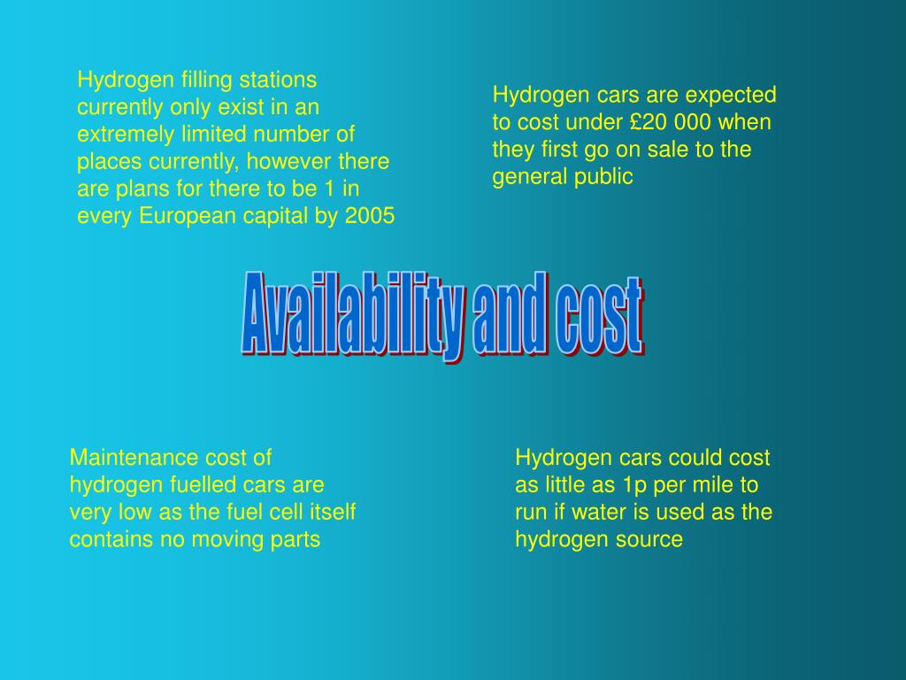 Hydrogen filling stations currently only exist in an extremely limited number of places currently, however there are plans for there to be 1 in every European capital by 2005