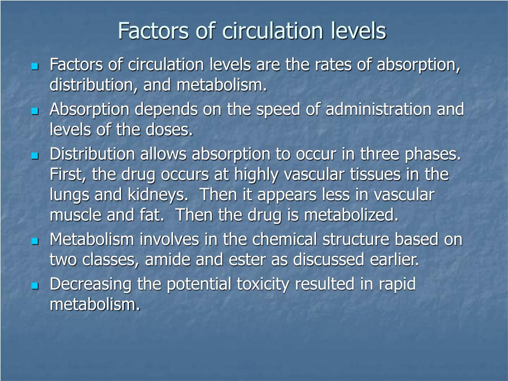 Factors of circulation levels