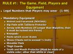rule 1 the game field players and equipment35
