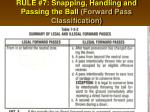 rule 7 snapping handling and passing the ball forward pass classification