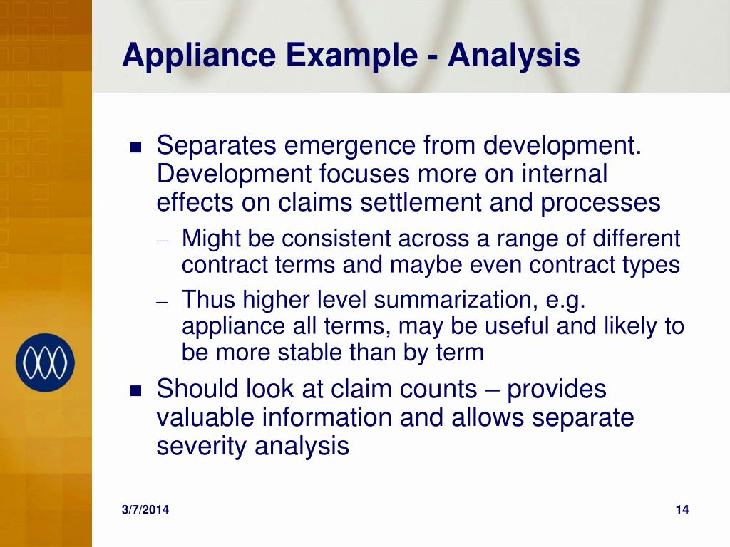 Appliance Example - Analysis