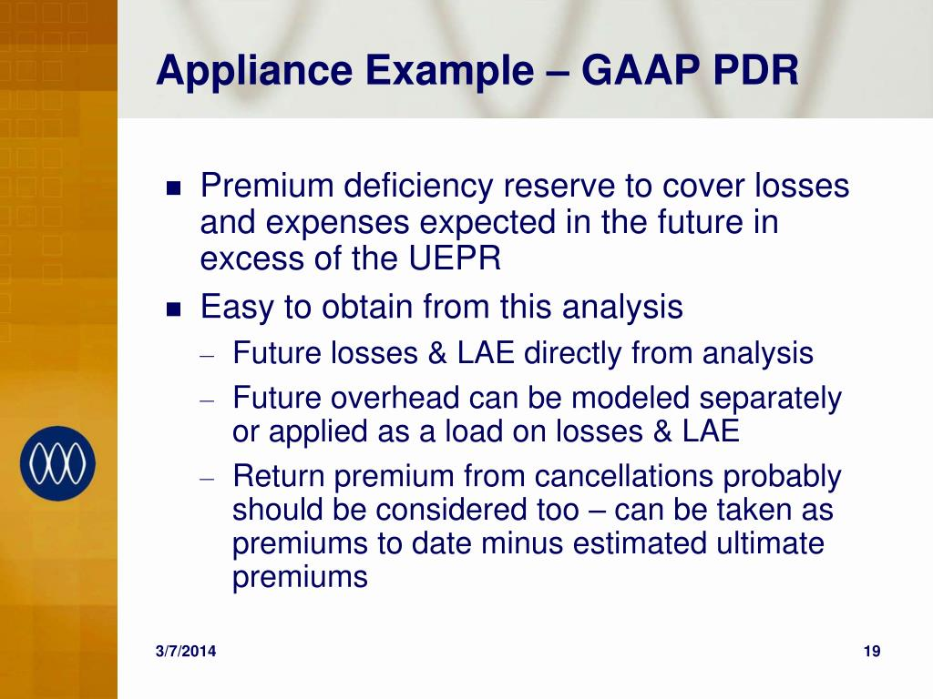 Appliance Example – GAAP PDR