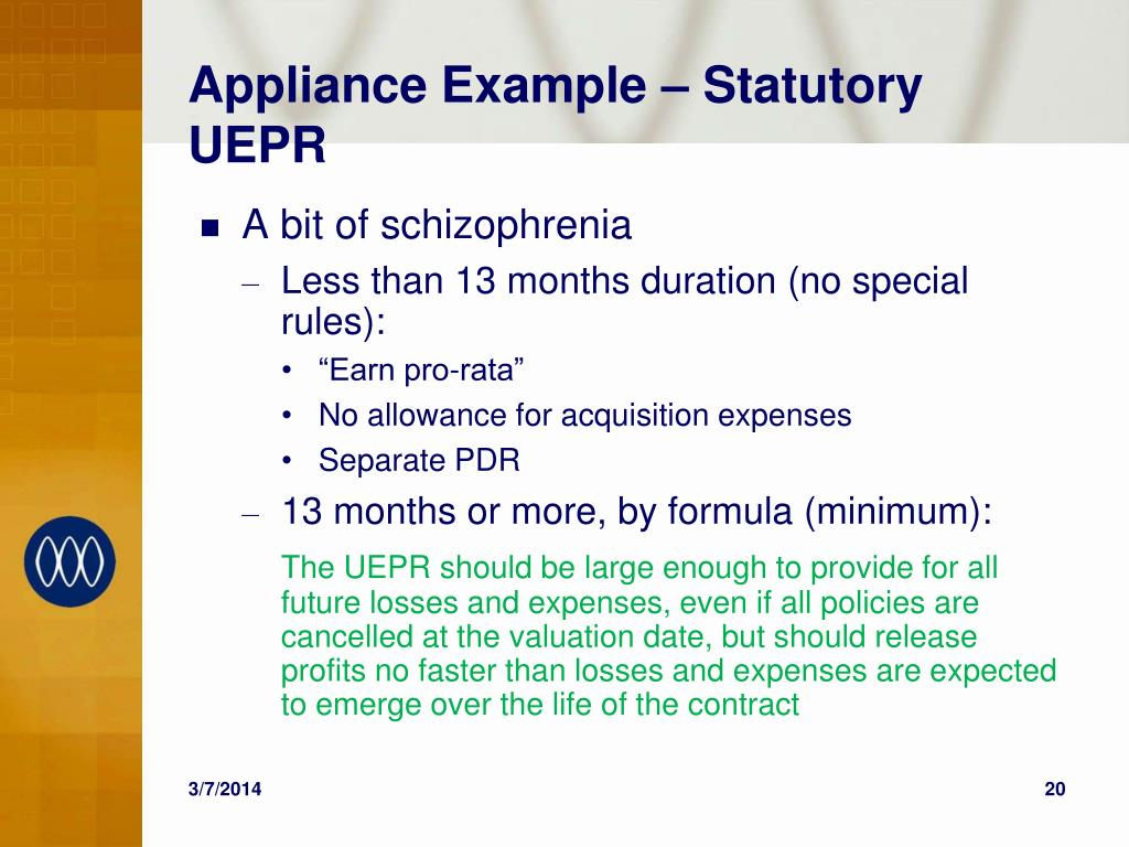 Appliance Example – Statutory UEPR