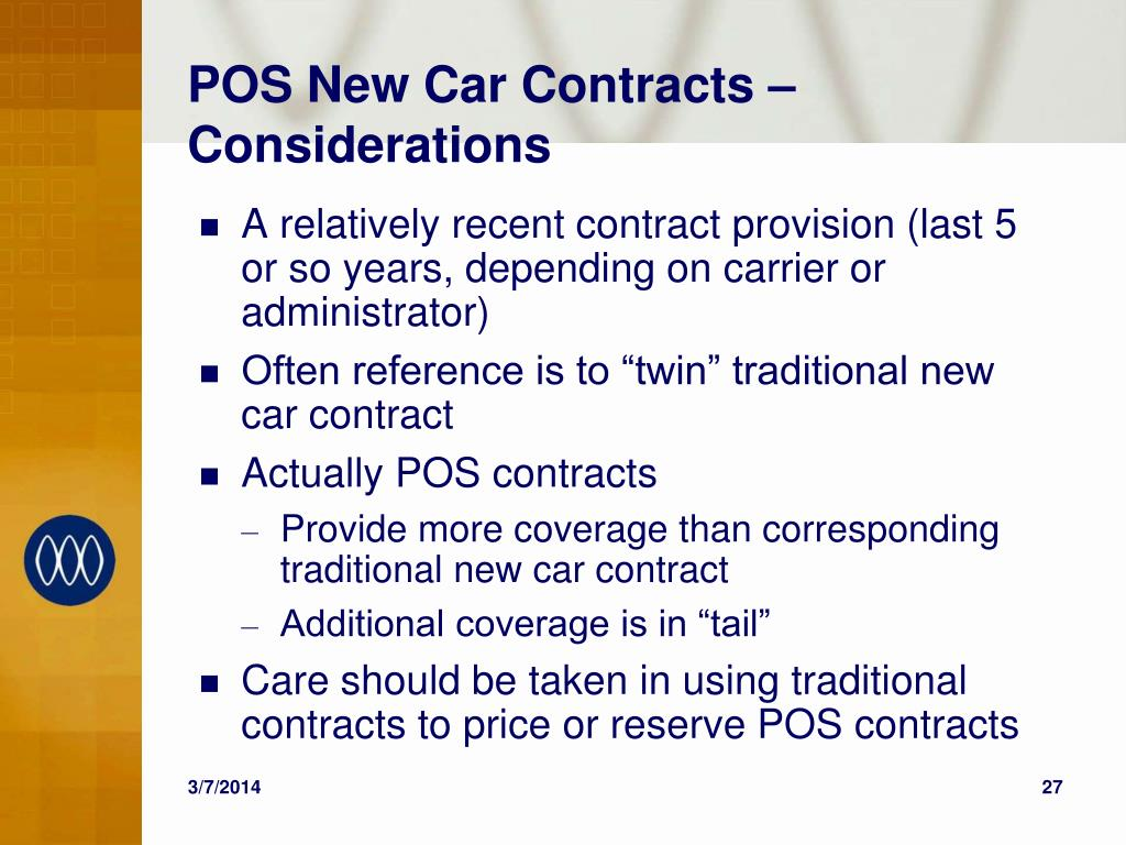 POS New Car Contracts – Considerations