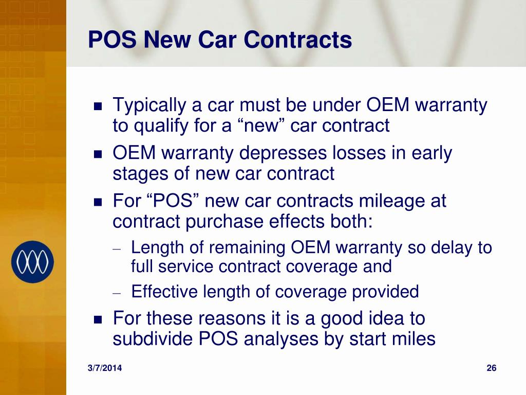 POS New Car Contracts