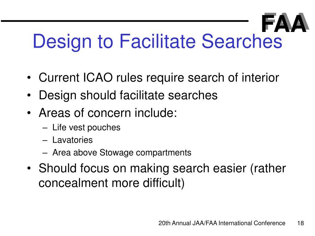Design to Facilitate Searches
