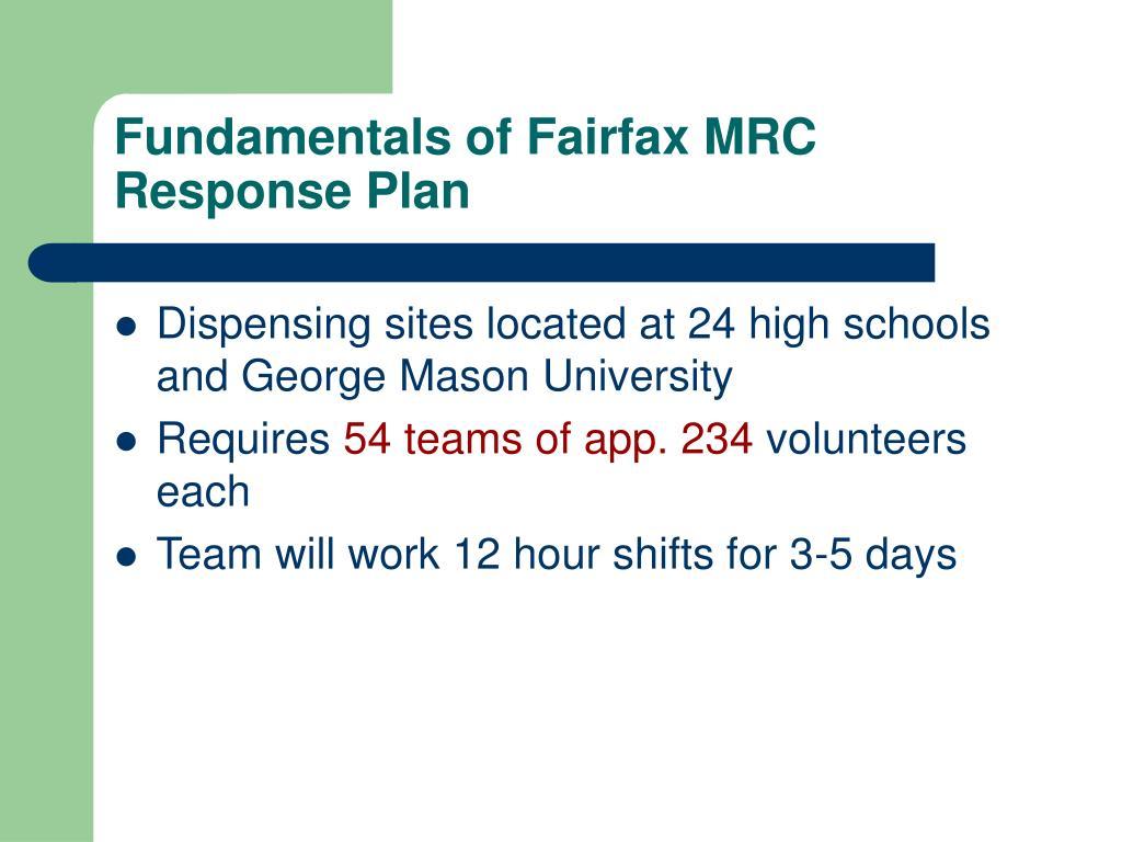 Fundamentals of Fairfax MRC Response Plan