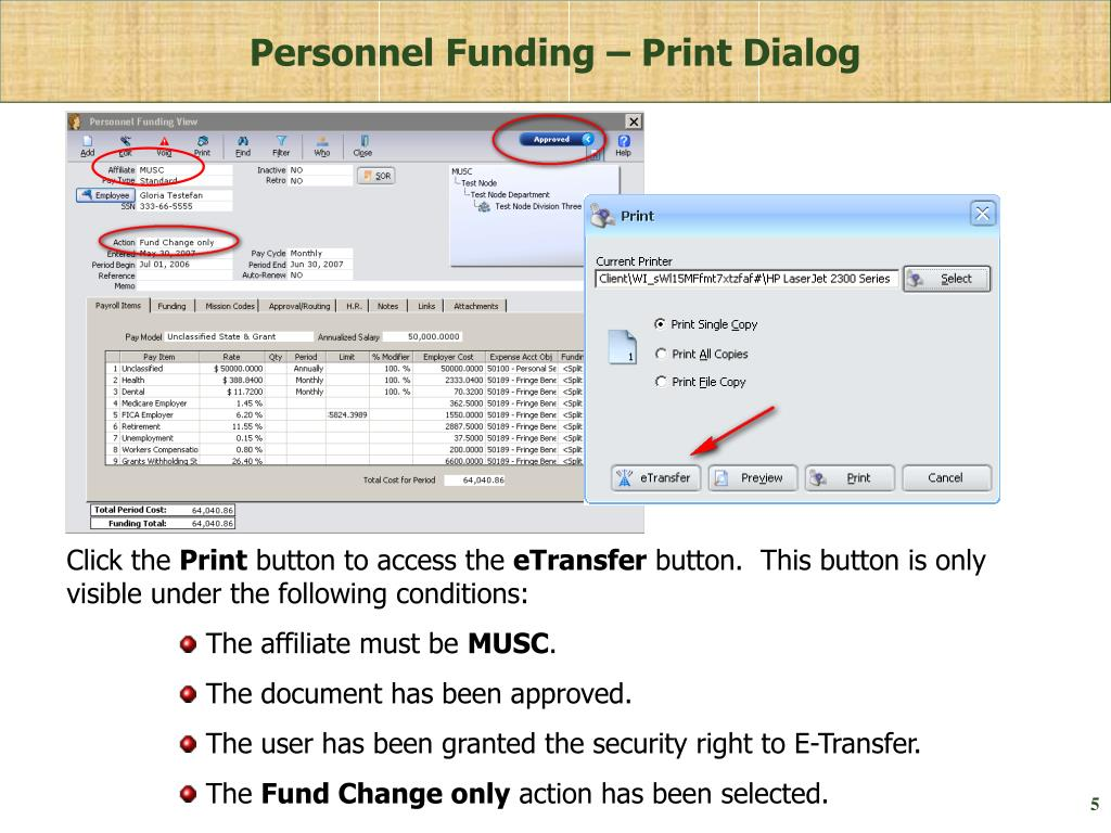 Personnel Funding – Print Dialog
