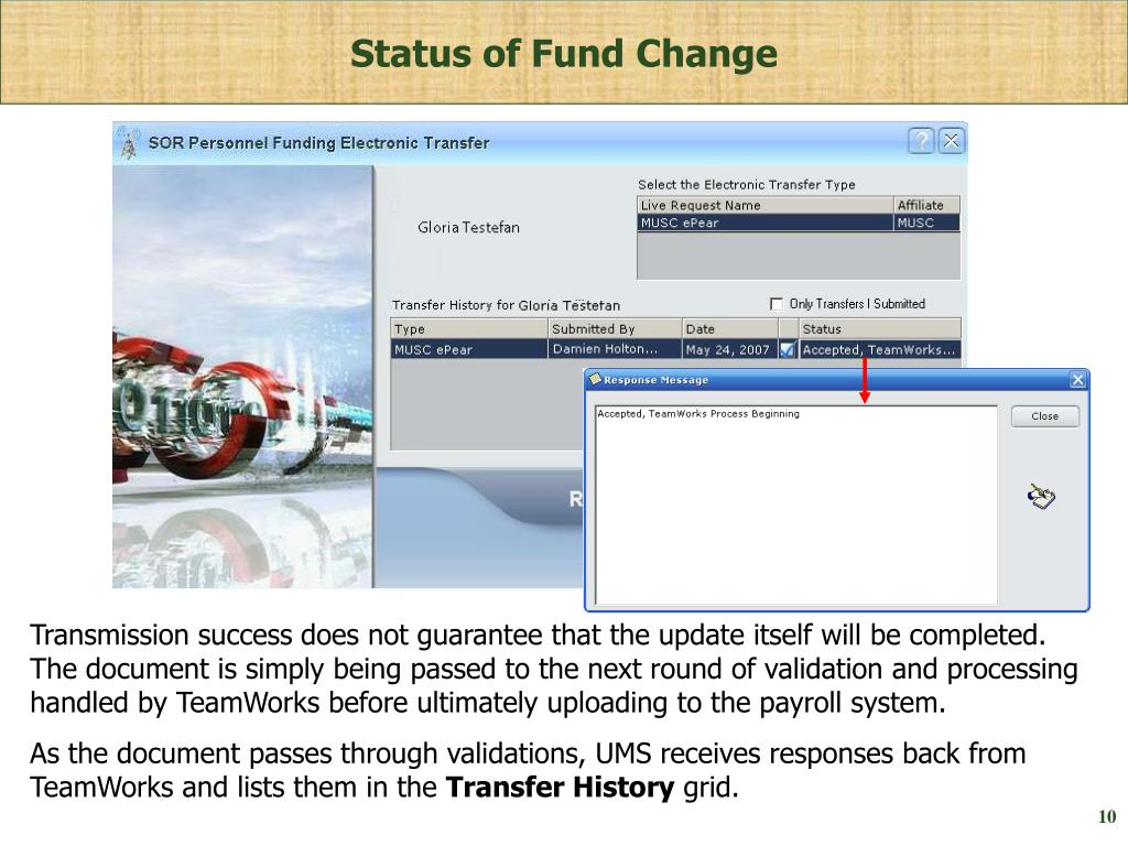Status of Fund Change
