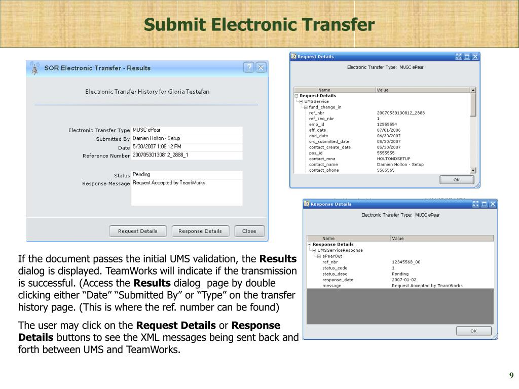 Submit Electronic Transfer