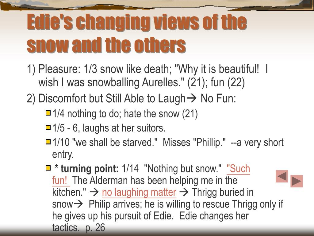 Edie's changing views of the snow and the others