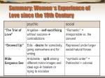 summary women s experience of love since the 19th century
