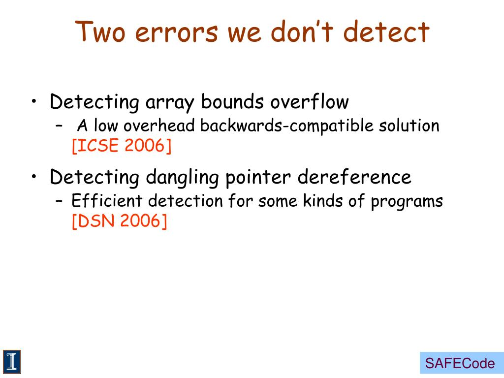 Two errors we don't detect