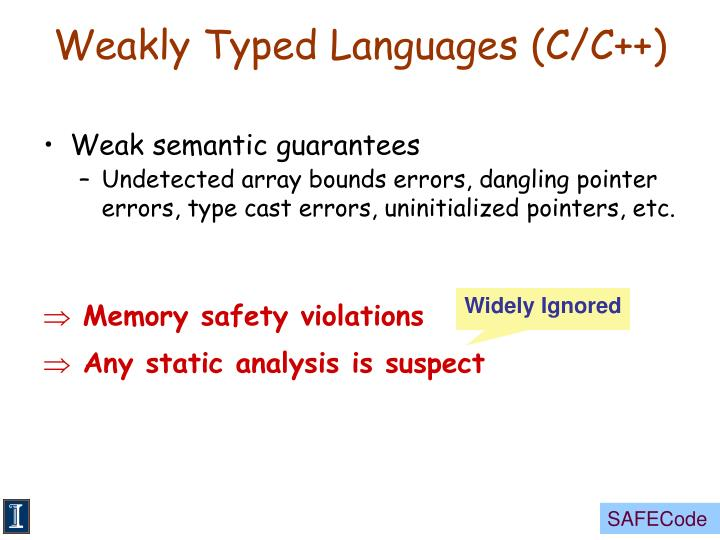 Weakly typed languages c c