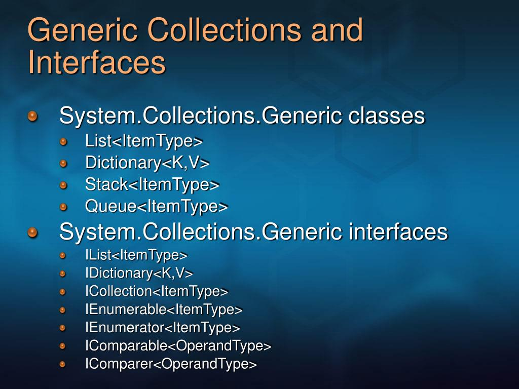 Generic Collections and Interfaces