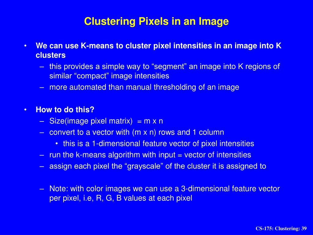 Clustering Pixels in an Image