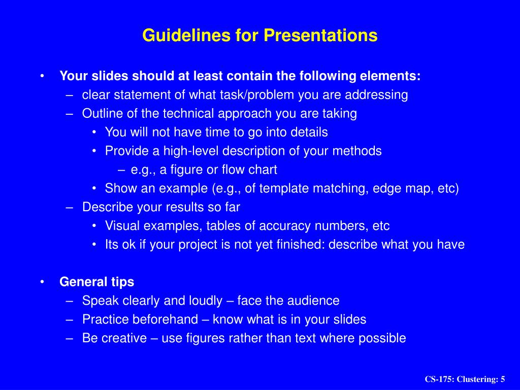 Guidelines for Presentations
