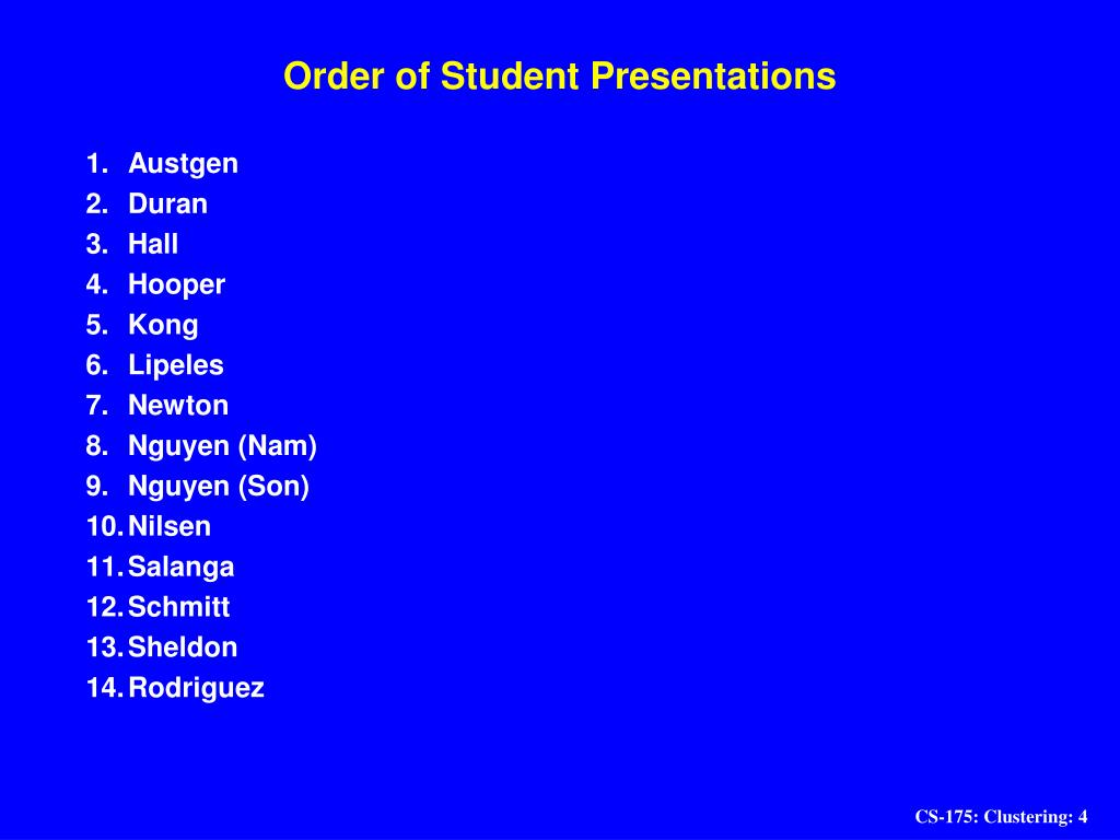 Order of Student Presentations