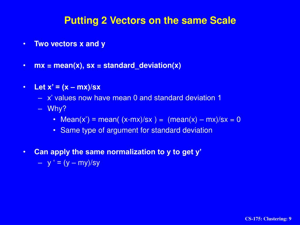 Putting 2 Vectors on the same Scale