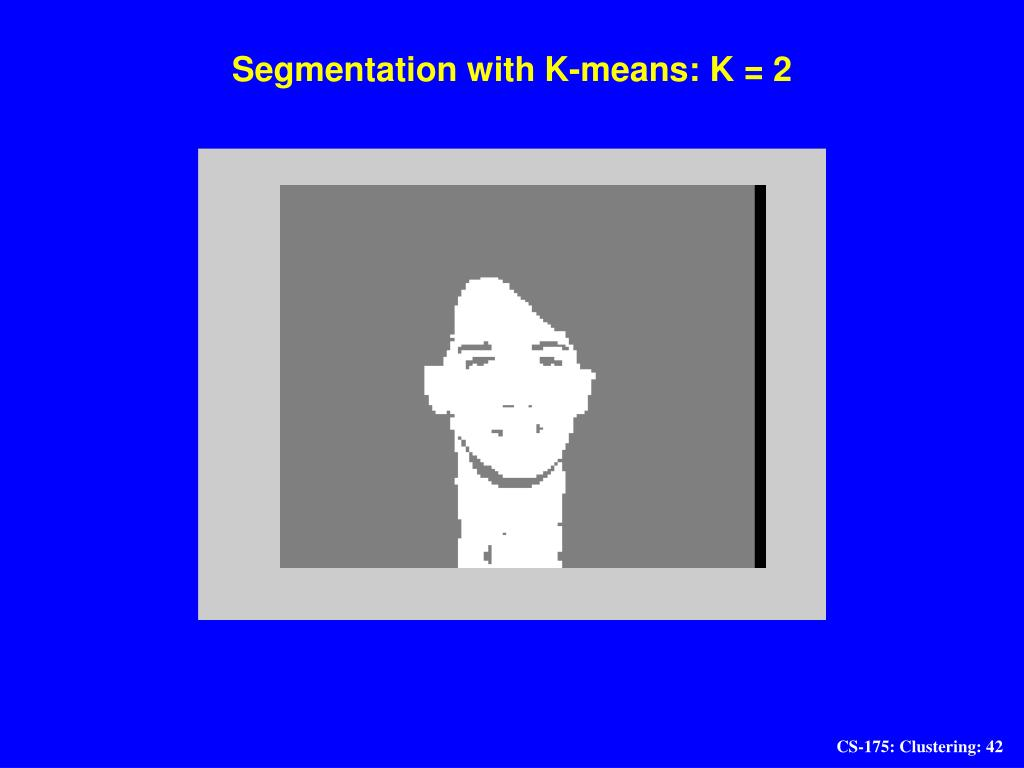 Segmentation with K-means: K = 2