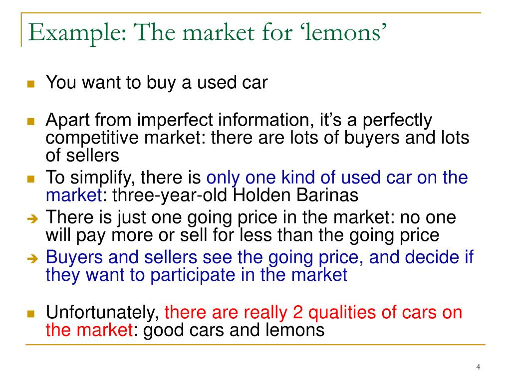 Example: The market for 'lemons'