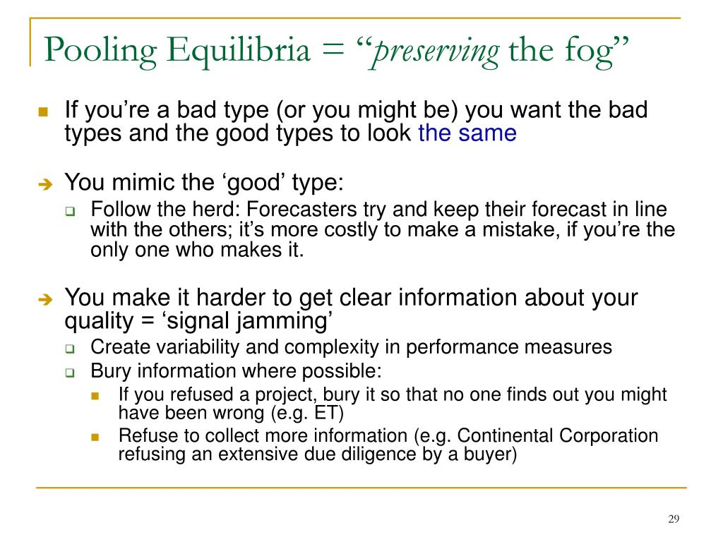 Pooling Equilibria = ""