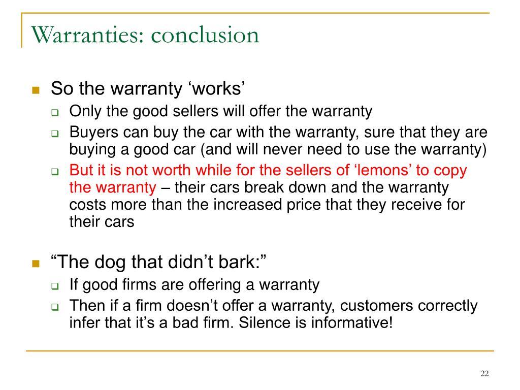 Warranties: conclusion