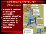 heating appliances clearances