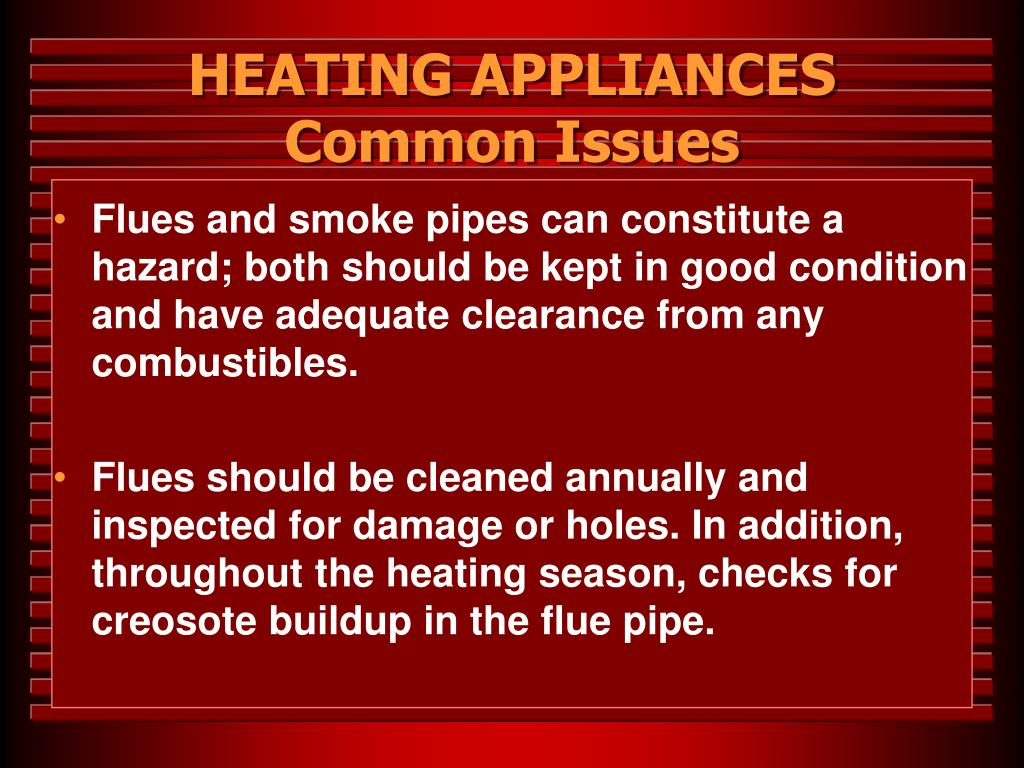 HEATING APPLIANCES Common Issues