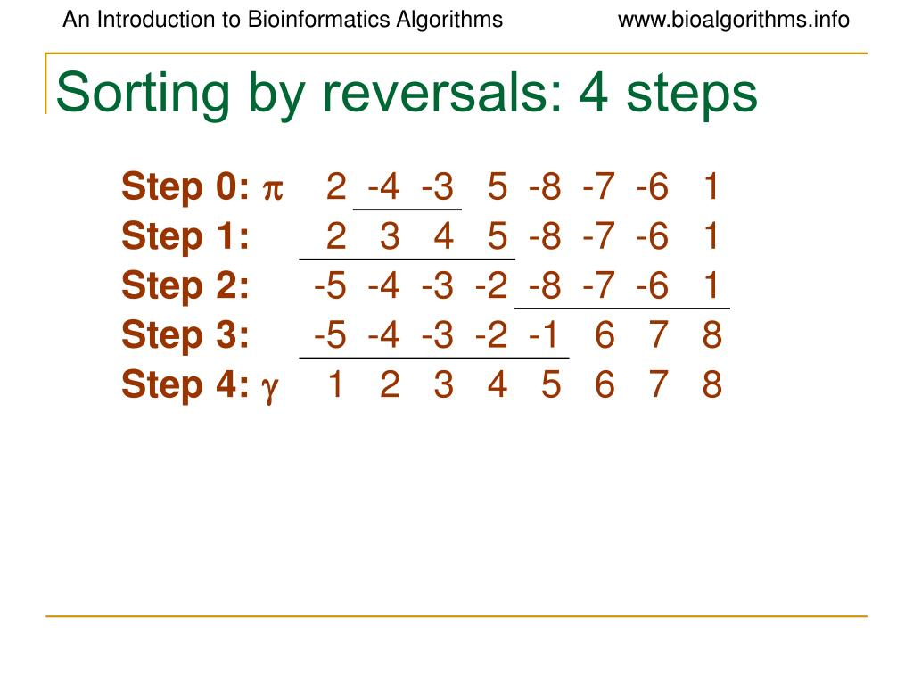 Sorting by reversals: 4 steps