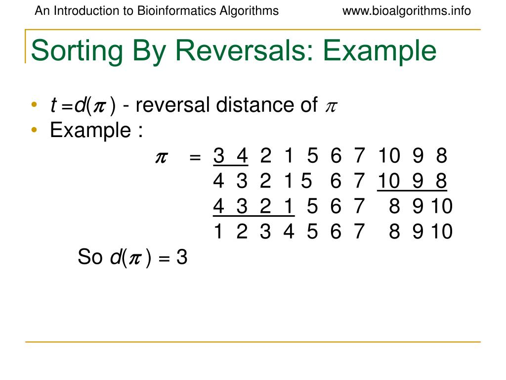 Sorting By Reversals: Example