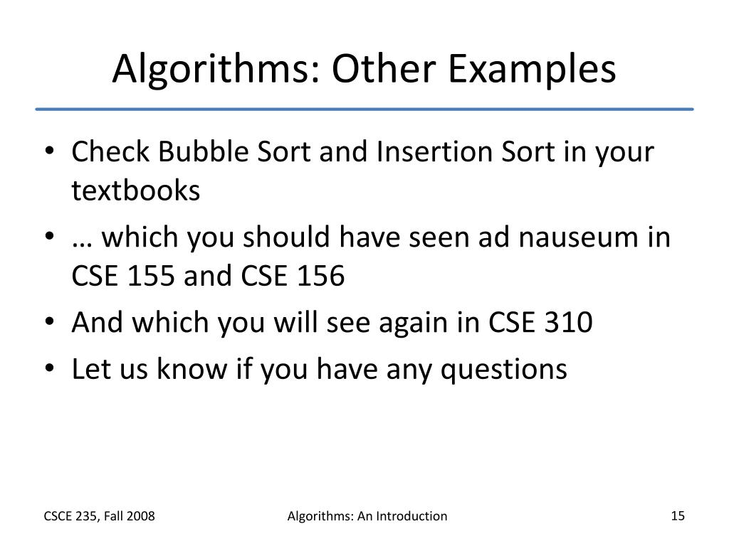 Algorithms: Other Examples