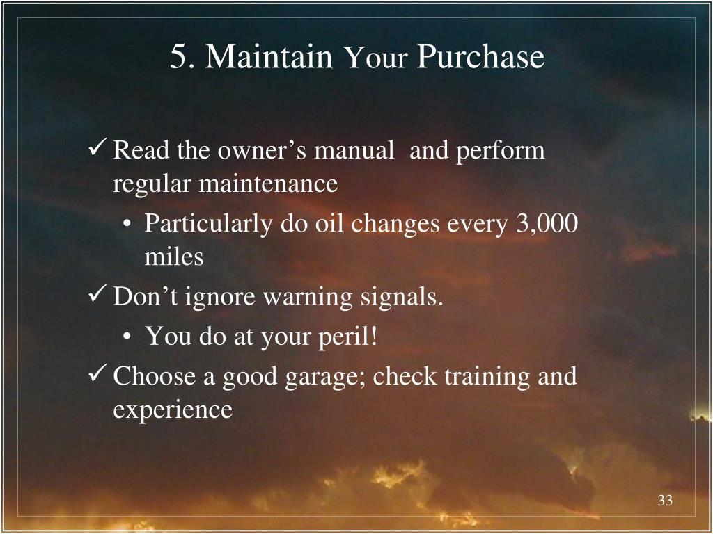 5. Maintain