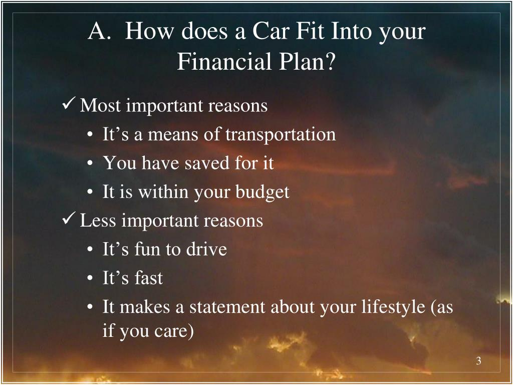 A.  How does a Car Fit Into your Financial Plan?